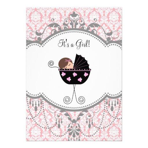 pink gray damask baby girl shower invitations 5 x 7 invitation ca