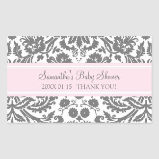 Pink Gray Damask Baby Shower Favor Stickers