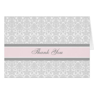 Pink Gray Damask Baby Shower Thank You Card