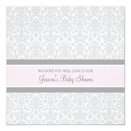"Pink Gray Damask Custom Baby Shower Invitations 5.25"" Square Invitation Card"
