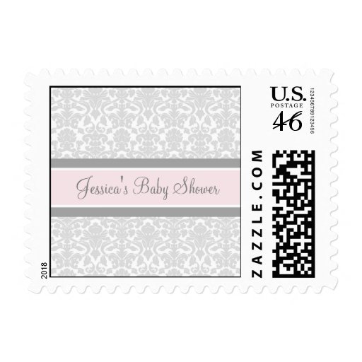 Pink Gray Damask Custom Baby Shower Stamps