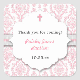Pink Gray Damask girl Christening Baptism favor Square Sticker