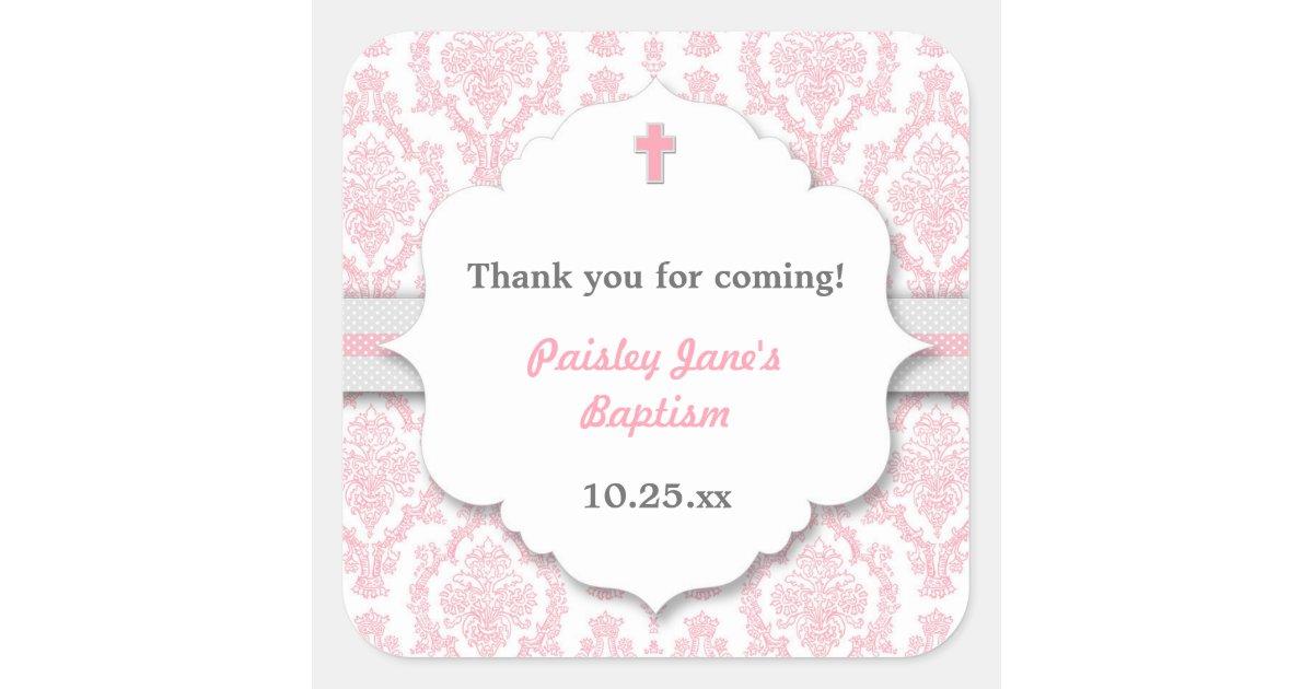 Pink Gray Damask Girl Christening Baptism Favor Square
