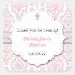 Pink Gray Damask girl Christening Baptism favor Square Stickers