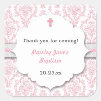 Pink Gray Damask girl Christening Baptism favor Square Sticker