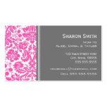 Pink Gray Damask Mom Calling Cards Business Card Template