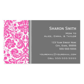 Pink Gray Damask Mom Calling Cards Double-Sided Standard Business Cards (Pack Of 100)