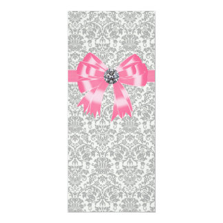 """Pink Gray Damask Party Program Template 4"""" X 9.25"""" Invitation Card"""