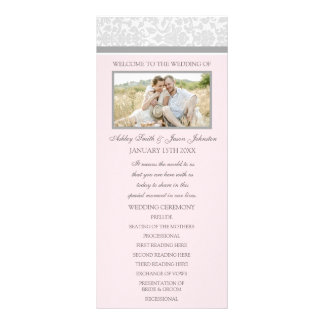 Pink Gray Damask Photo Wedding Program