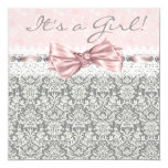 "Pink Gray Damask Pink and Gray Baby Girl Shower 5.25"" Square Invitation Card"