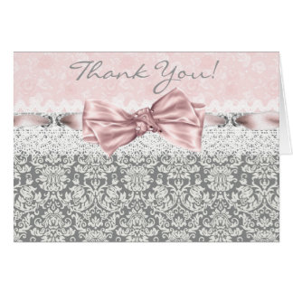Pink Gray Damask Pink and Gray Thank You Cards