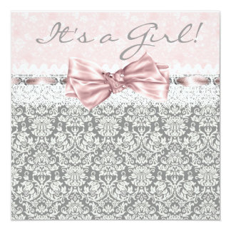 Pink Gray Damask Pink Gray Baby Girl Shower Card