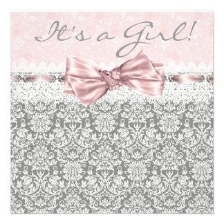 Pink Gray Damask Pink Gray Baby Girl Shower Custom Invitation