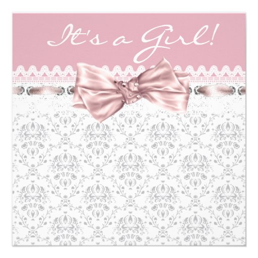 Pink Gray Damask Pink Gray Baby Girl Shower Custom Announcements
