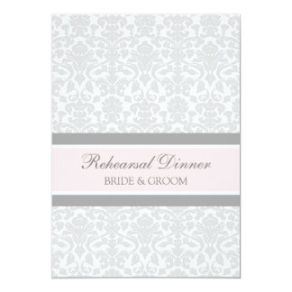 Pink Gray Damask Rehearsal Dinner Party Card