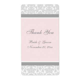 Pink Gray Damask Wedding Labels