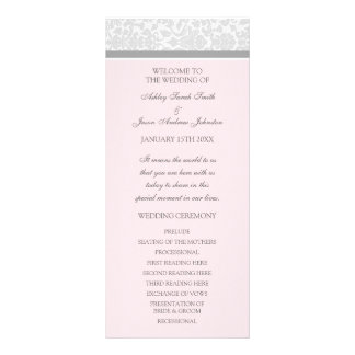 Pink Gray Damask Wedding Program