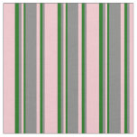 [ Thumbnail: Pink, Gray & Dark Green Colored Pattern Fabric ]