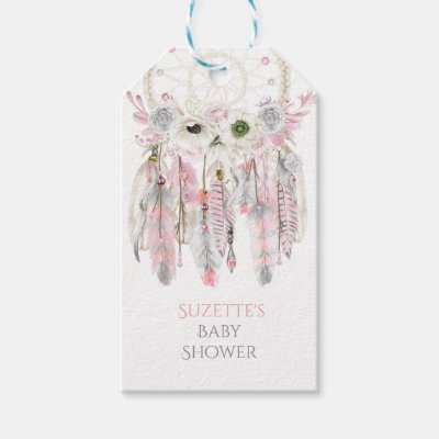 Pink Gray Dream Catcher Arrow Feathers Ribbons Gift Tags