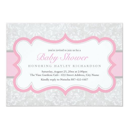 Pink & Gray Elegant Damask Baby Shower Invite