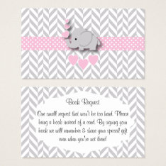 Pink Gray Elephant Baby Shower Book Request Business Card at Zazzle