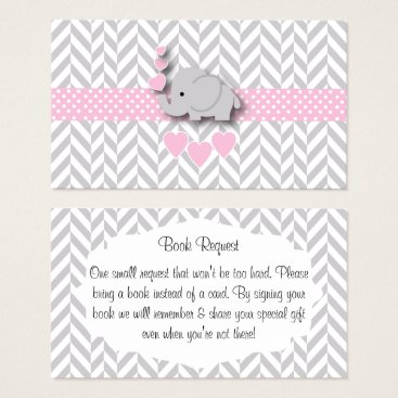 Toddler & Baby themed Pink Gray Elephant Baby Shower Book Request Business Card
