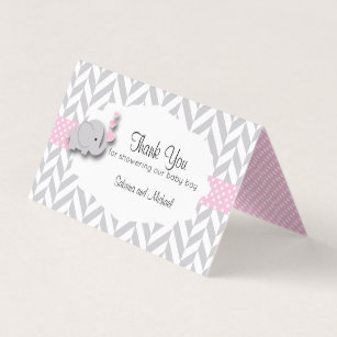 pink gray elephant baby shower candy toppers business card
