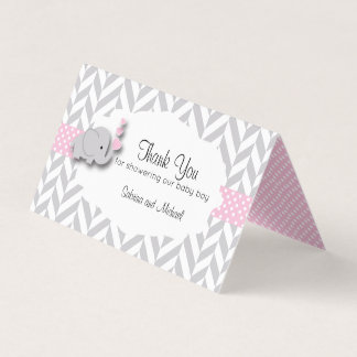Pink & Gray Elephant Baby Shower   Candy Toppers Business Card