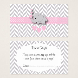 Pink Gray Elephant Baby Shower Diaper Raffle Business Card