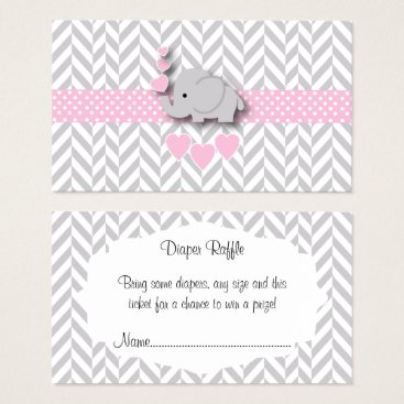 Toddler & Baby themed Pink Gray Elephant Baby Shower Diaper Raffle Business Card