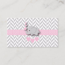 Pink Gray Elephant Baby Shower Diaper Raffle Enclosure Card