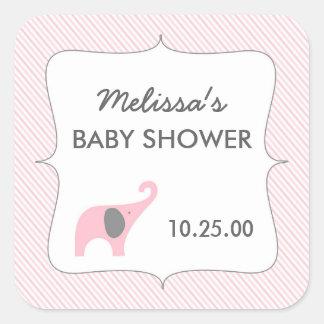 pink gray elephant baby shower favor sticker