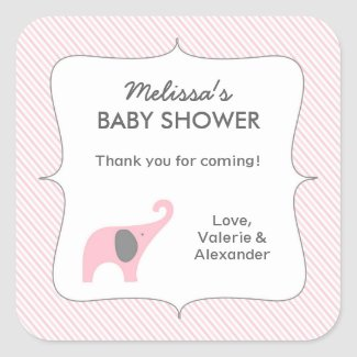 Pink gray elephant baby shower favor thank you