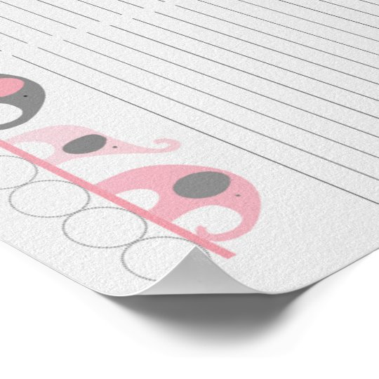 Pink Gray Elephant Baby Shower Guest Sign In Sheet Zazzle