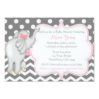 pink gray elephant baby shower invite