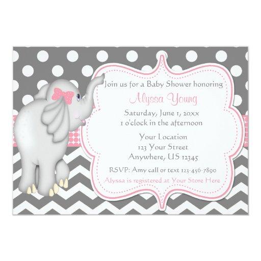 pink gray elephant baby shower invite zazzle