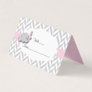 Pink & Gray Elephant Baby Shower | Place Cards