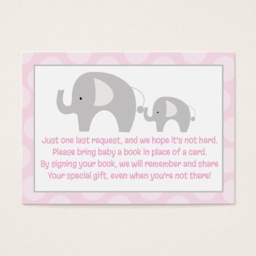 Pink Gray Elephant Enclosure Book Request Cards