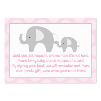 Pink Gray Elephant Enclosure Book Request Cards Large Business Cards (Pack Of 100)