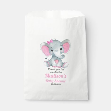 Pink Gray Elephant Favor Bag, Customize your text Favor Bag