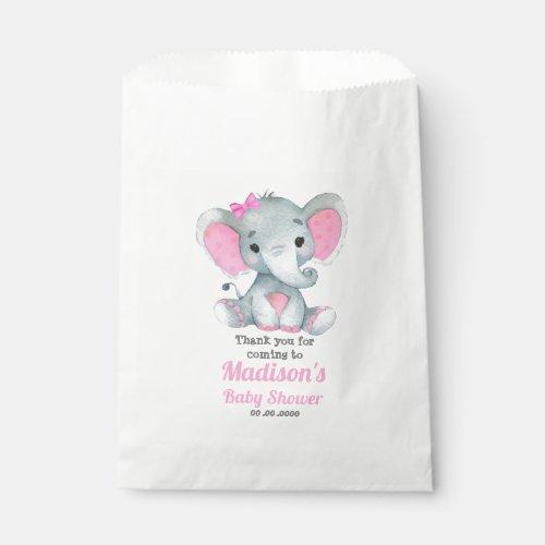 Pink Gray Elephant Favor Bag, Customize your text Favor Bag