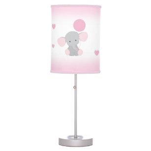 Pink Gray Elephant Nursery Baby Girl Safari Animal Desk Lamp
