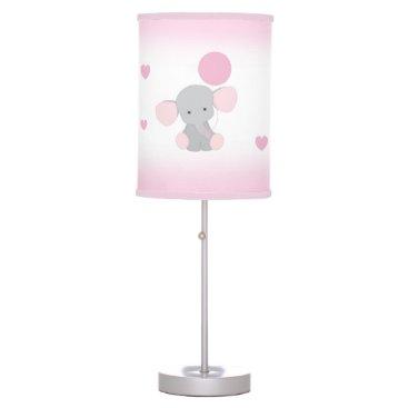 decampstudios Pink Gray Elephant Nursery Baby Girl Safari Animal Desk Lamp