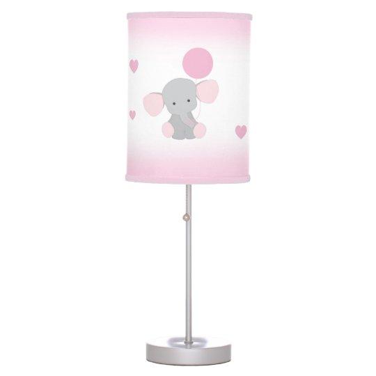 Pink Gray Elephant Nursery Baby Safari Animal Table Lamp