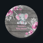 "Pink Gray Elephant Plate 4 Baby Shower, Birthday<br><div class=""desc"">Cute little Baby Pink Gray Elephant Table plate for any celebration.</div>"