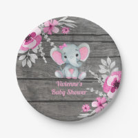 Pink Gray Elephant Plate 4 Baby Shower, Birthday