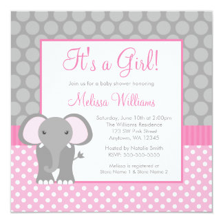 pink gray elephant polka dot girl baby shower card