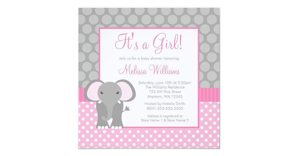 pink gray elephant polka dot girl baby shower card zazzle