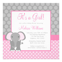 Pink Gray Elephant Polka Dot Girl Baby Shower Personalized Invitations