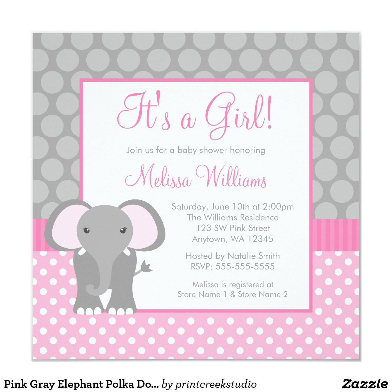 Pink And Gray Elephant Baby Shower Invitations futurecliminfo
